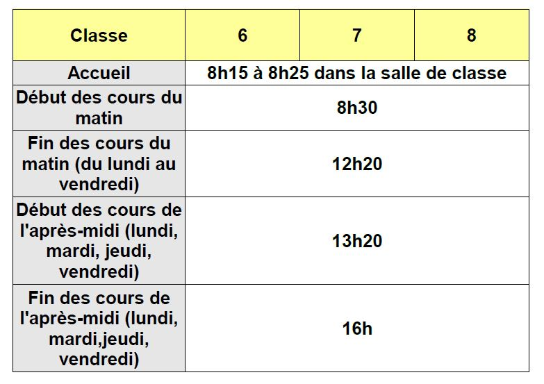 horaires collège